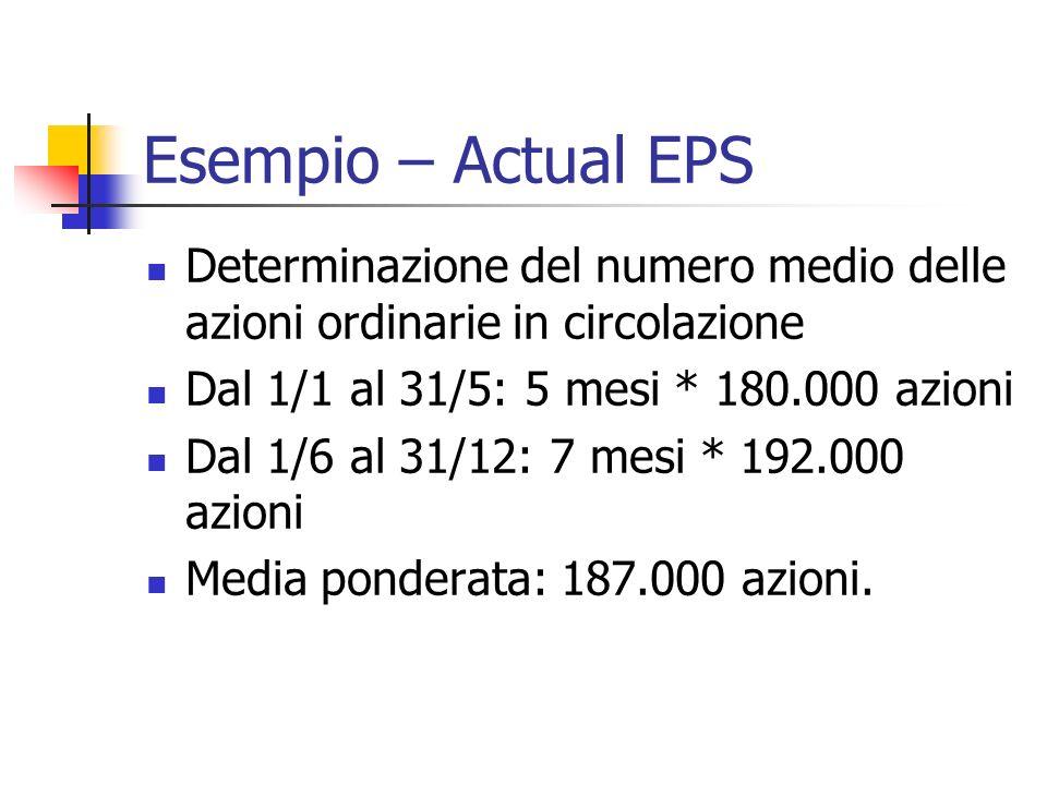 Esempio – Actual EPS Determinazione del numero medio delle azioni ordinarie in circolazione. Dal 1/1 al 31/5: 5 mesi * 180.000 azioni.
