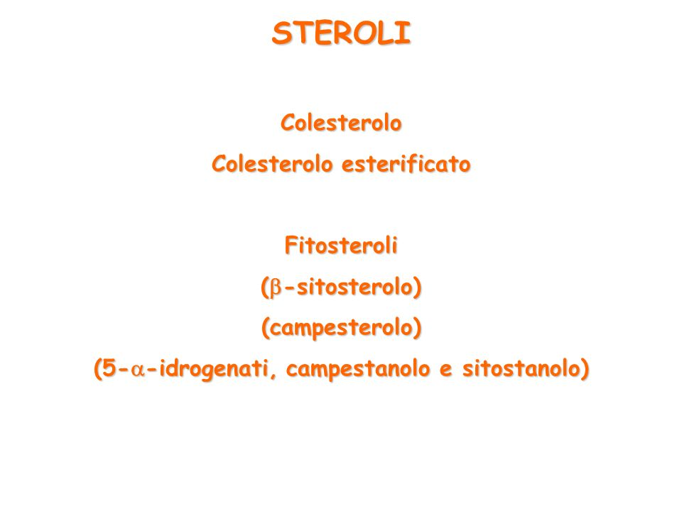 Colesterolo esterificato (5--idrogenati, campestanolo e sitostanolo)