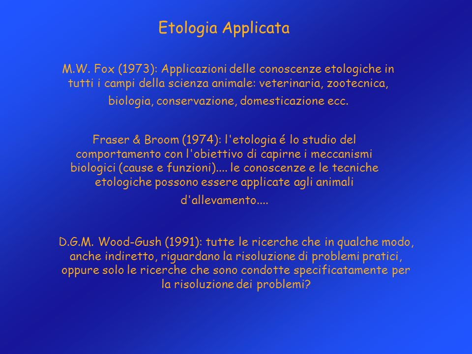 Etologia Applicata