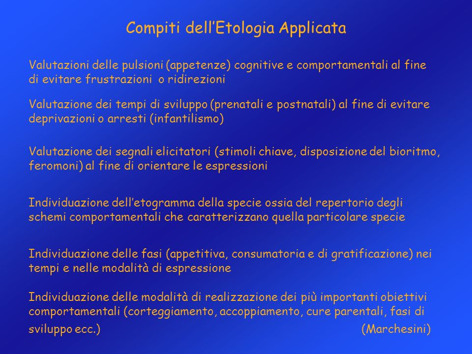Compiti dell'Etologia Applicata
