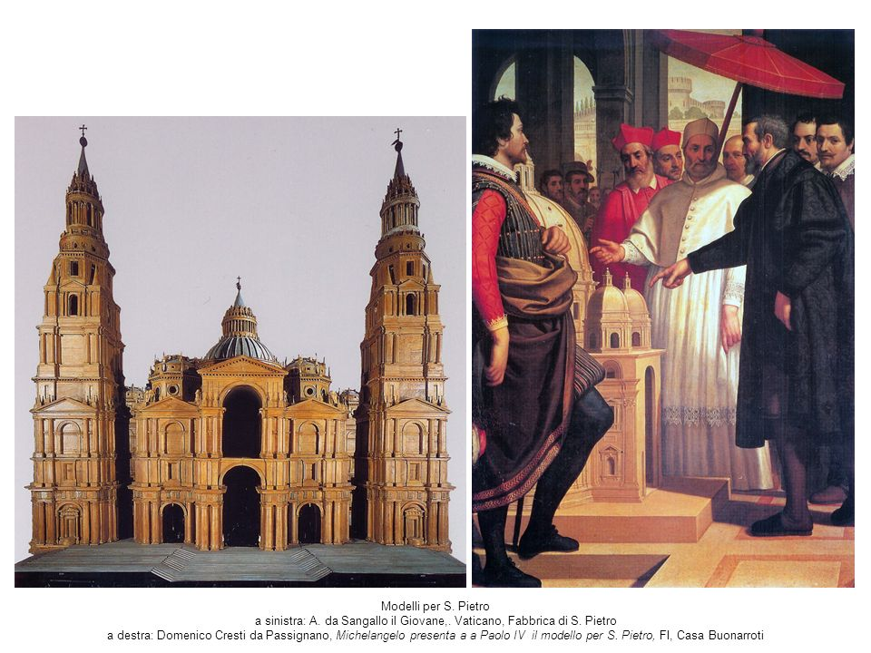 Modelli per S. Pietro a sinistra: A. da Sangallo il Giovane,
