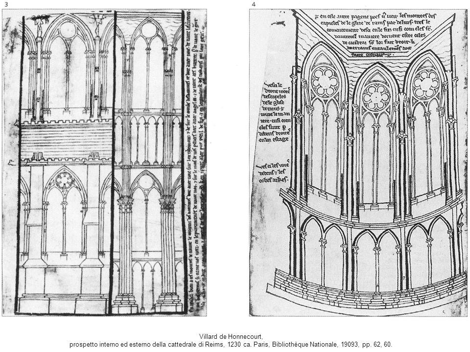 Villard de Honnecourt, prospetto interno ed esterno della cattedrale di Reims, 1230 ca.