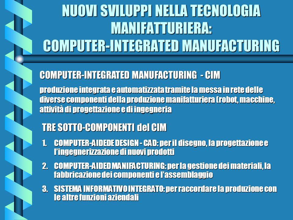 NUOVI SVILUPPI NELLA TECNOLOGIA MANIFATTURIERA: COMPUTER-INTEGRATED MANUFACTURING