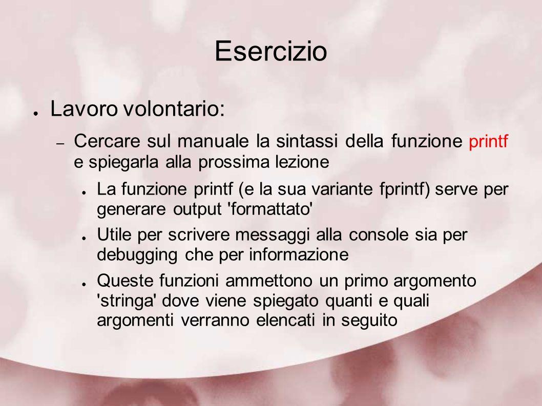Esercizio Lavoro volontario: