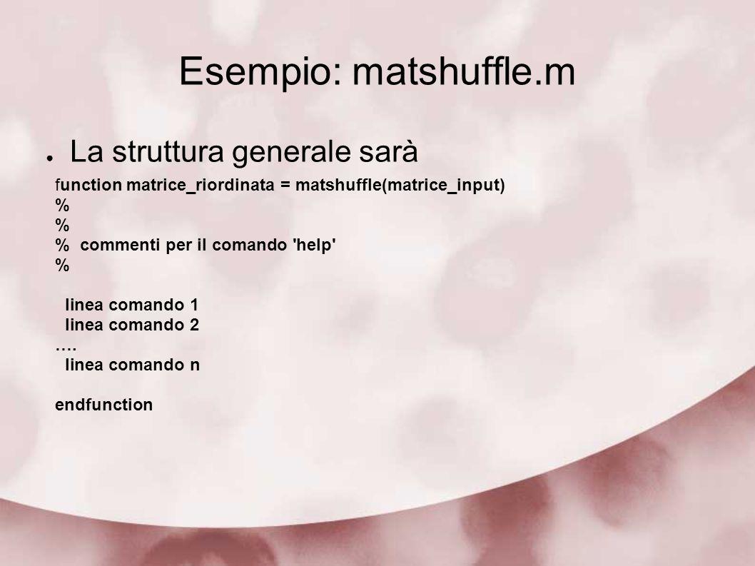 Esempio: matshuffle.m La struttura generale sarà