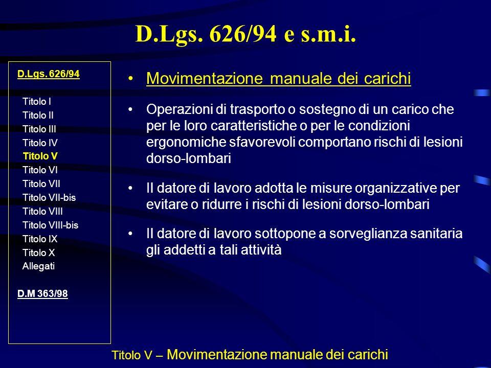 Titolo V – Movimentazione manuale dei carichi