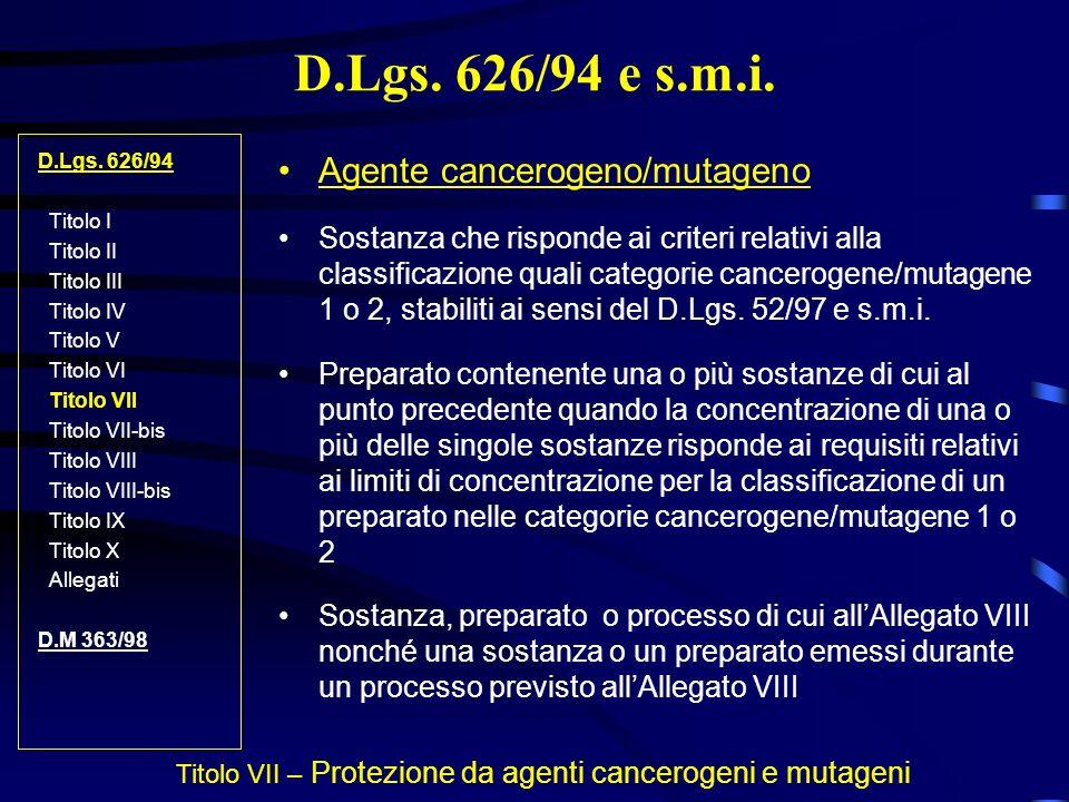 Titolo VII – Protezione da agenti cancerogeni e mutageni