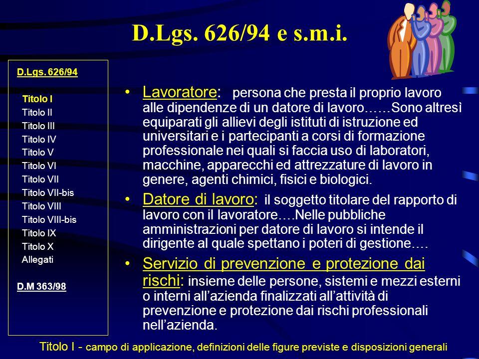 D.Lgs. 626/94 e s.m.i. D.Lgs. 626/94. Titolo I. Titolo II. Titolo III. Titolo IV. Titolo V. Titolo VI.