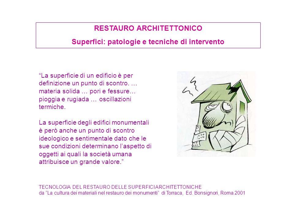 RESTAURO ARCHITETTONICO Superfici: patologie e tecniche di intervento