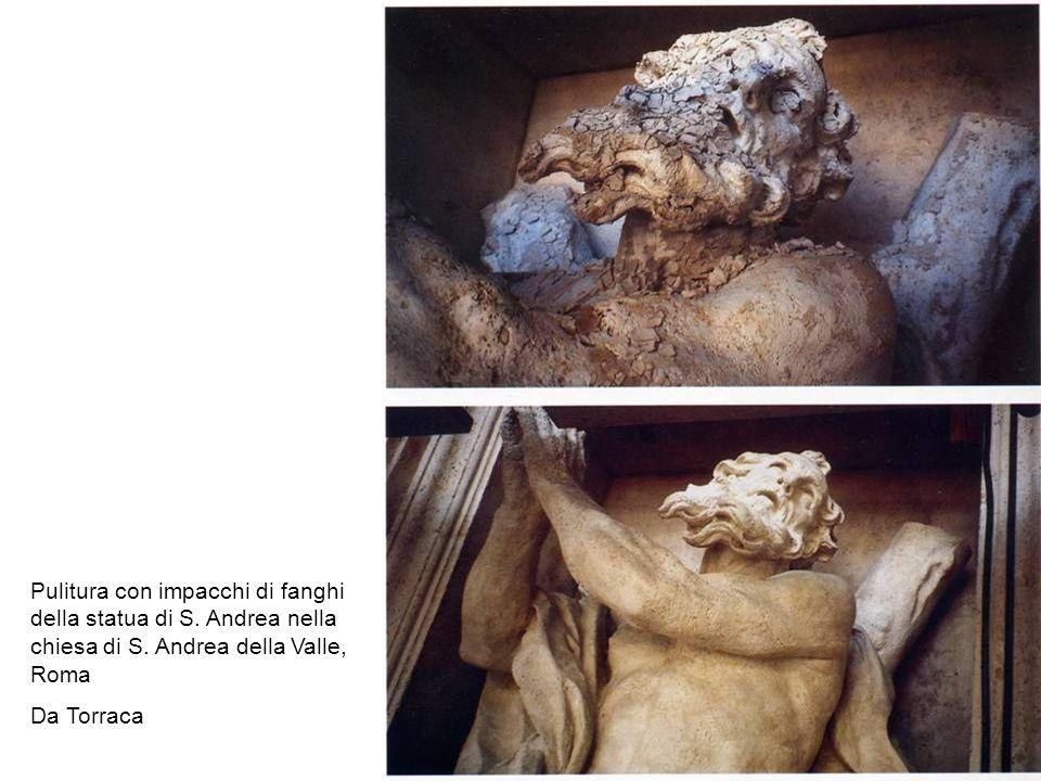 Pulitura con impacchi di fanghi della statua di S
