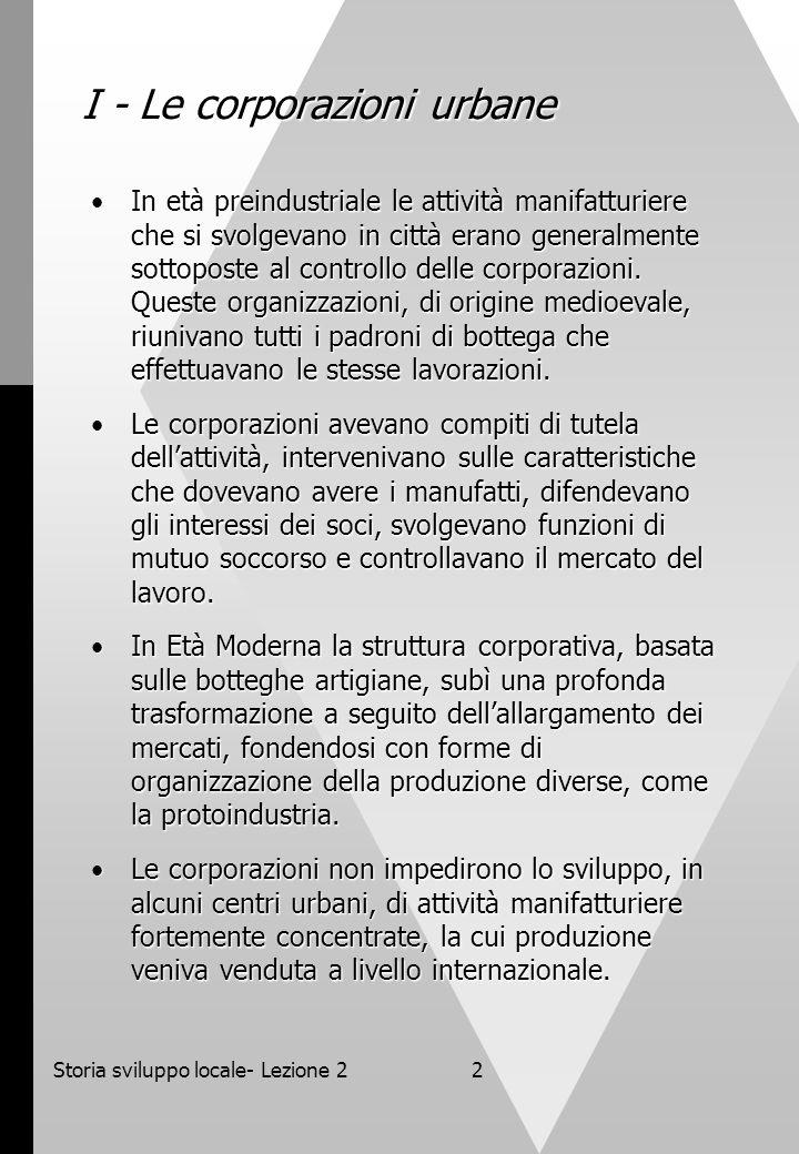 I - Le corporazioni urbane