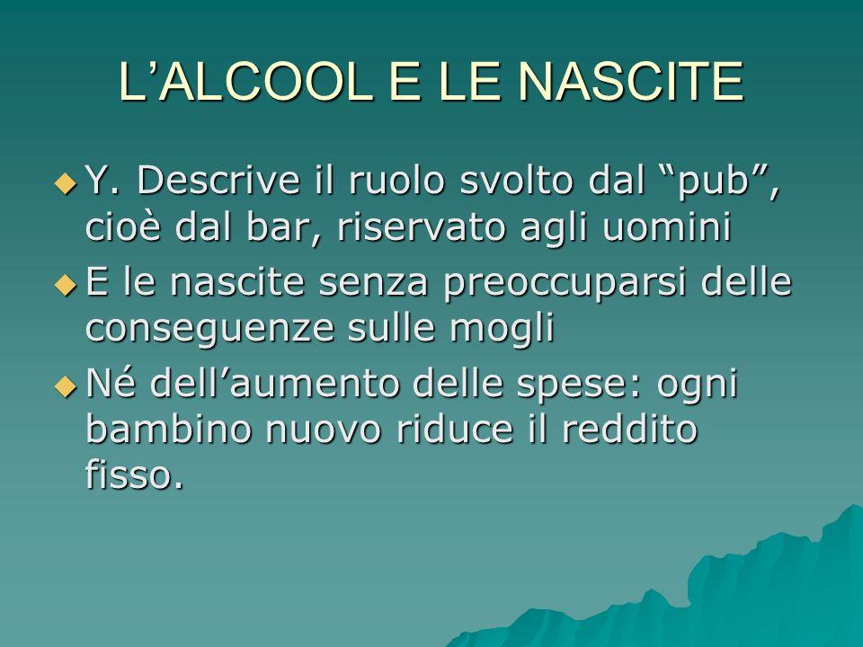 L'ALCOOL E LE NASCITE Y. Descrive il ruolo svolto dal pub , cioè dal bar, riservato agli uomini.