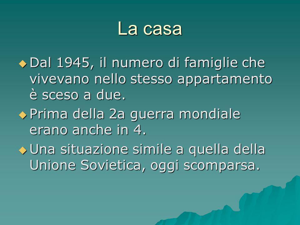 La casa Dal 1945, il numero di famiglie che vivevano nello stesso appartamento è sceso a due. Prima della 2a guerra mondiale erano anche in 4.