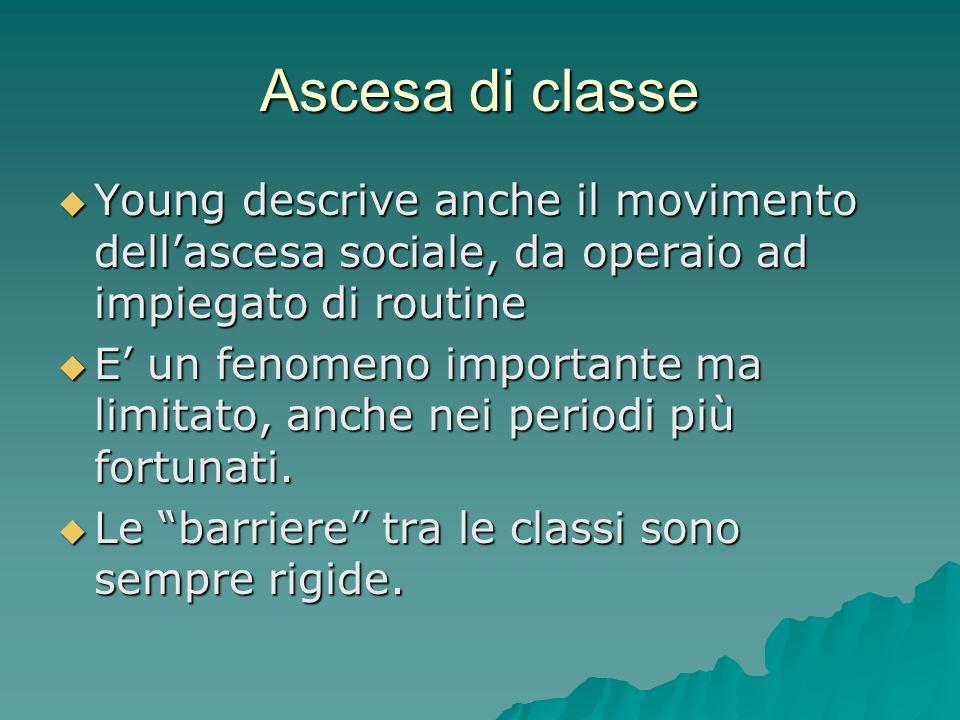 Ascesa di classe Young descrive anche il movimento dell'ascesa sociale, da operaio ad impiegato di routine.