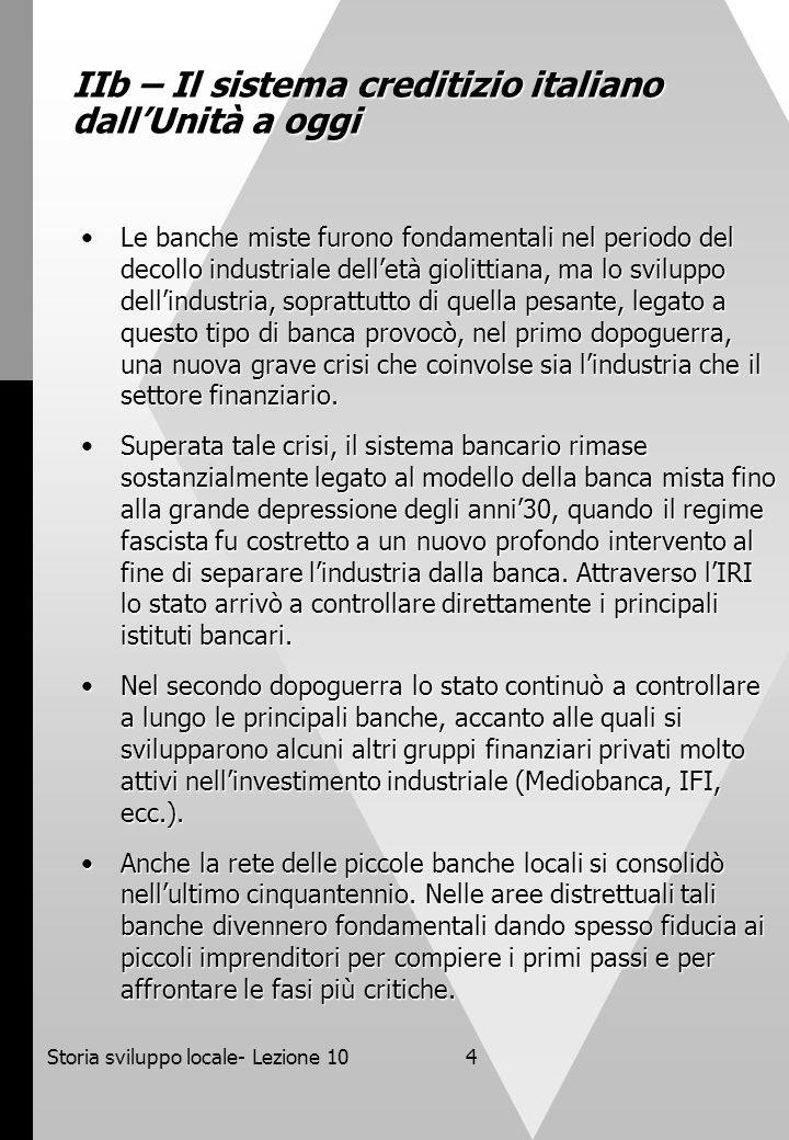 IIb – Il sistema creditizio italiano dall'Unità a oggi