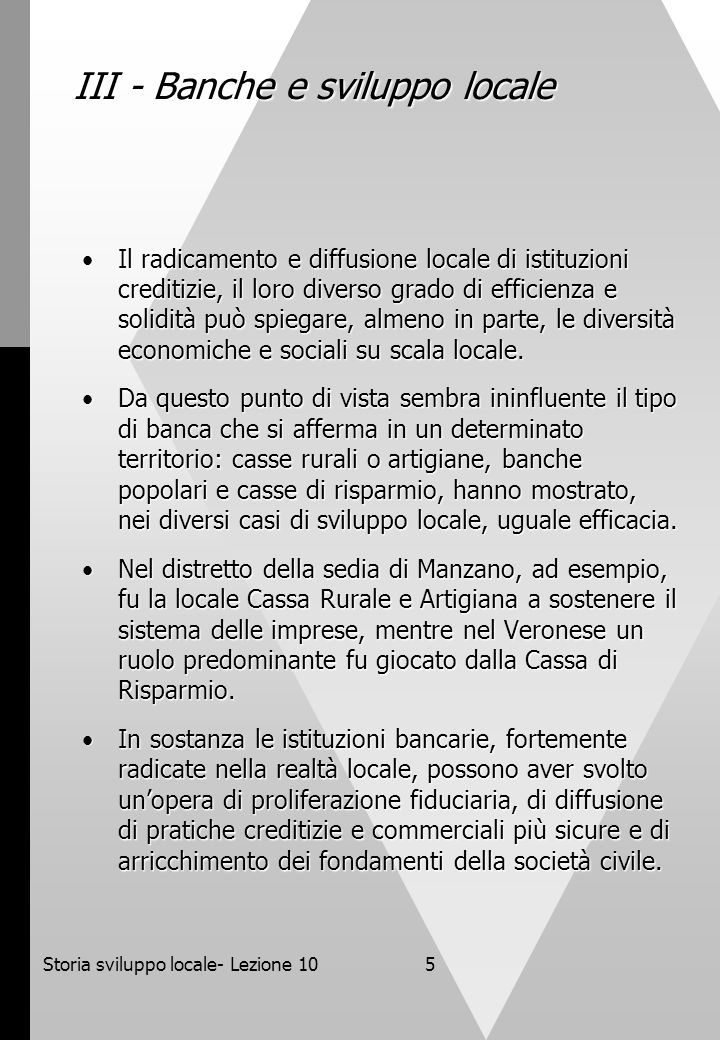 III - Banche e sviluppo locale