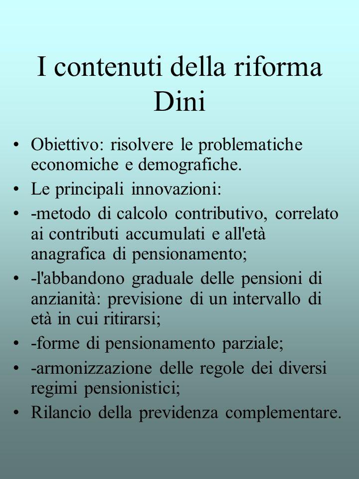 I contenuti della riforma Dini