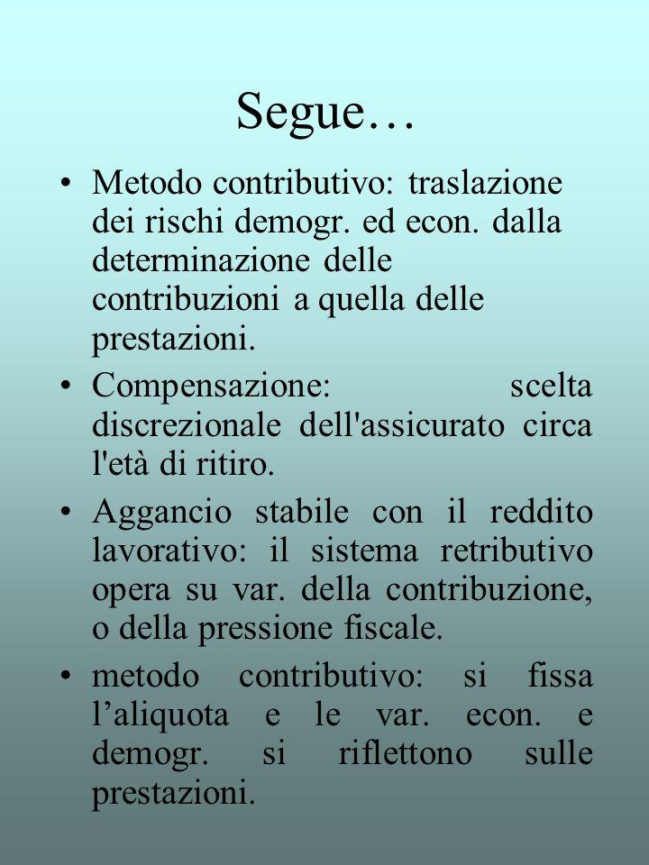 Segue… Metodo contributivo: traslazione dei rischi demogr. ed econ. dalla determinazione delle contribuzioni a quella delle prestazioni.