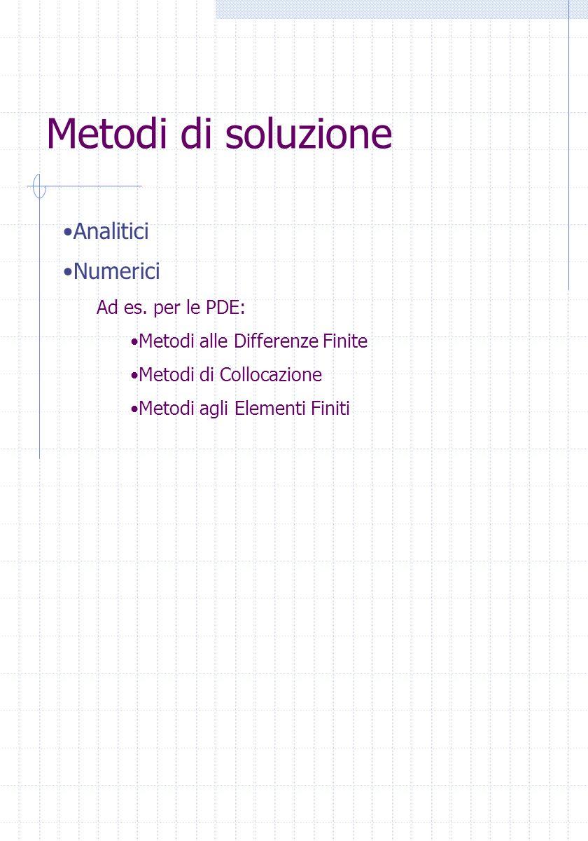 Metodi di soluzione Analitici Numerici Ad es. per le PDE: