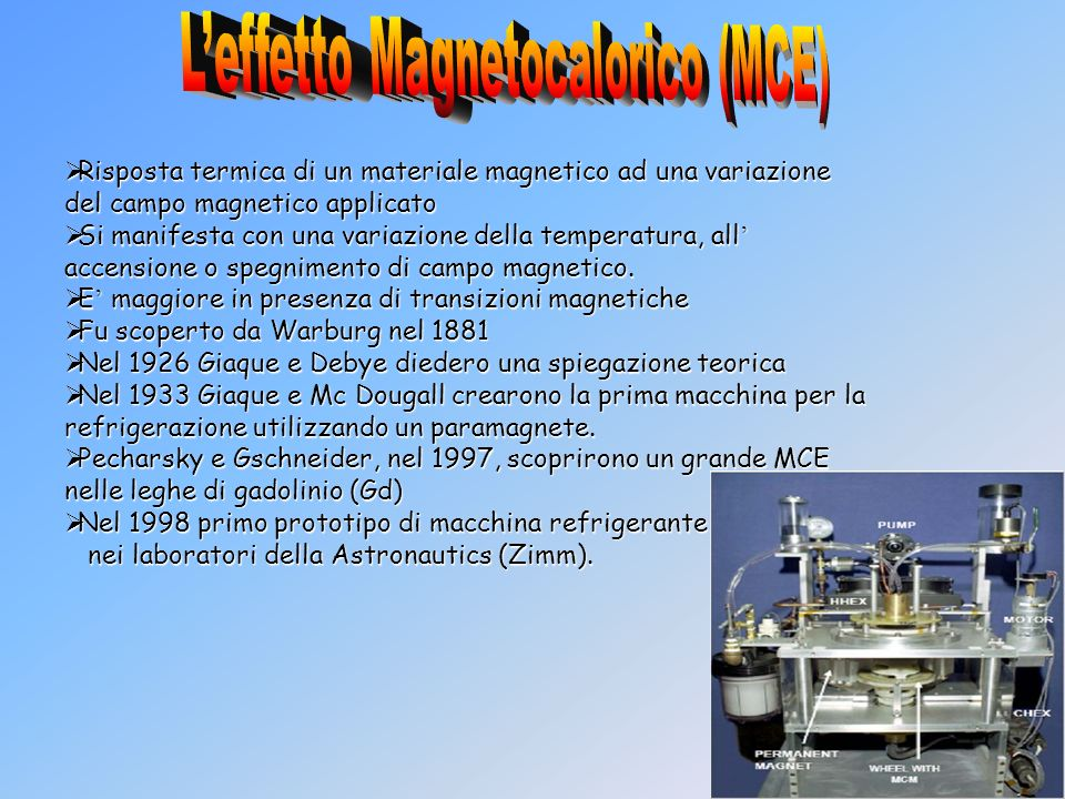 L'effetto Magnetocalorico (MCE)