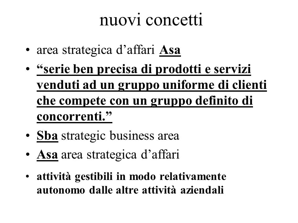 nuovi concetti area strategica d'affari Asa