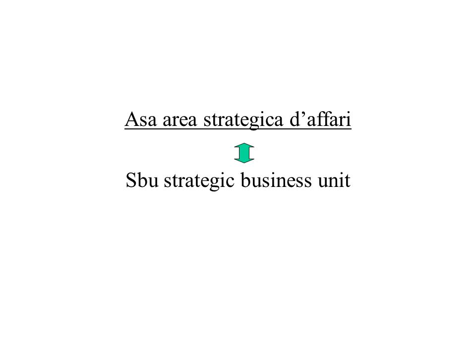 Asa area strategica d'affari Sbu strategic business unit