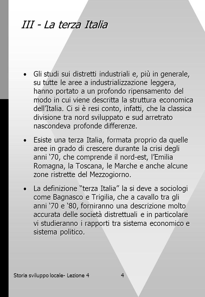Storia sviluppo locale- Lezione 4