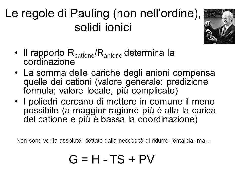 Le regole di Pauling (non nell'ordine), solidi ionici