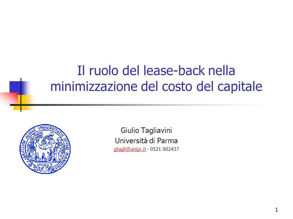 Il ruolo del lease-back nella minimizzazione del costo del capitale