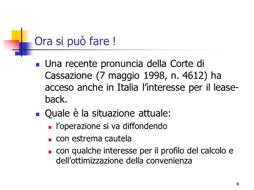 Ora si può fare ! Una recente pronuncia della Corte di Cassazione (7 maggio 1998, n. 4612) ha acceso anche in Italia l'interesse per il lease-back.