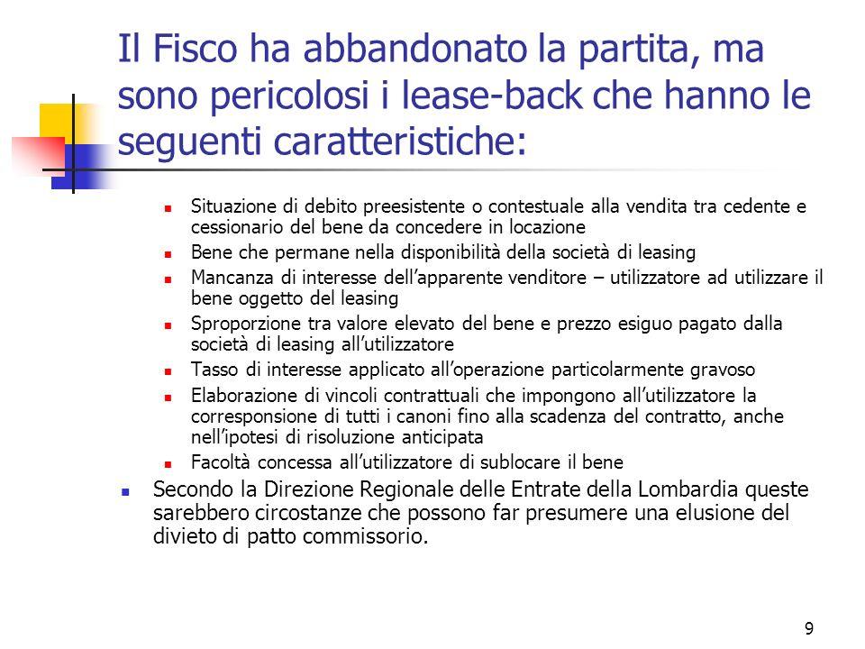 Il Fisco ha abbandonato la partita, ma sono pericolosi i lease-back che hanno le seguenti caratteristiche: