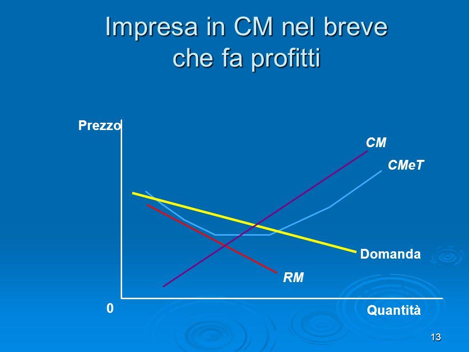 Impresa in CM nel breve che fa profitti