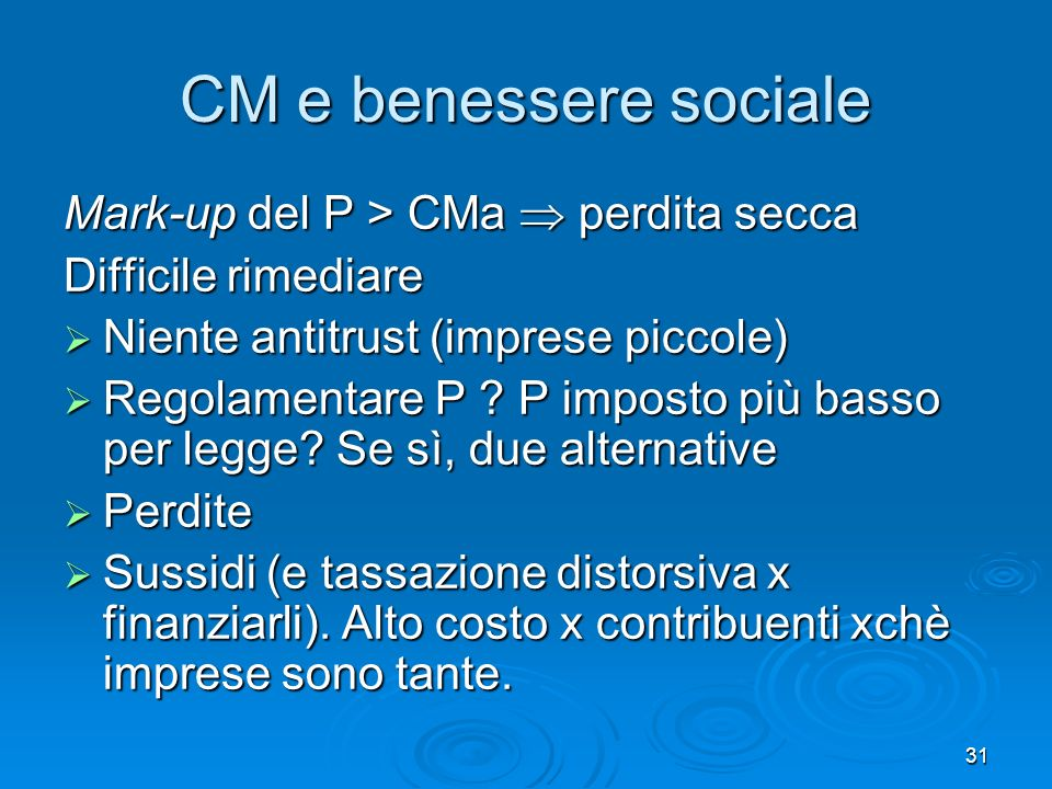 CM e benessere sociale Mark-up del P > CMa  perdita secca