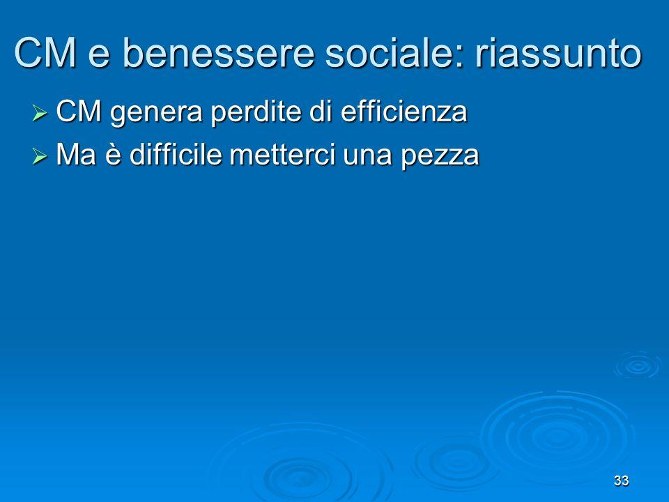 CM e benessere sociale: riassunto
