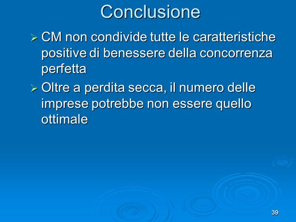 Conclusione CM non condivide tutte le caratteristiche positive di benessere della concorrenza perfetta.
