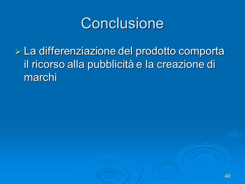 Conclusione La differenziazione del prodotto comporta il ricorso alla pubblicità e la creazione di marchi.