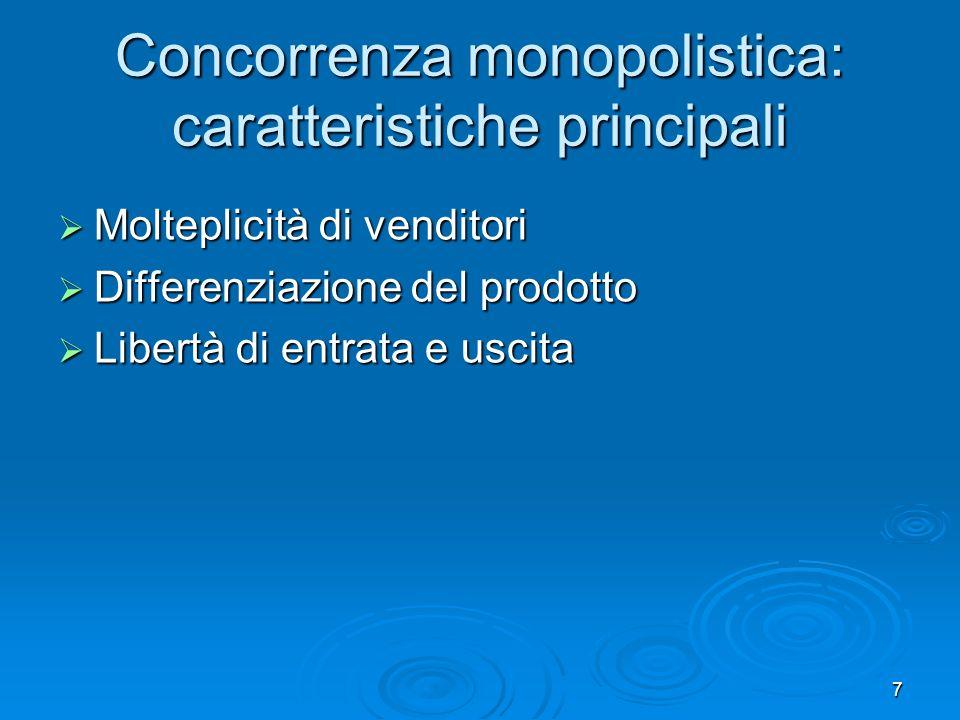 Concorrenza monopolistica: caratteristiche principali