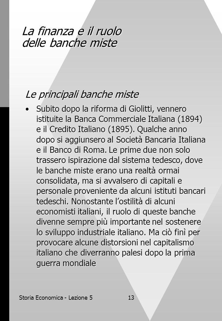 La finanza e il ruolo delle banche miste