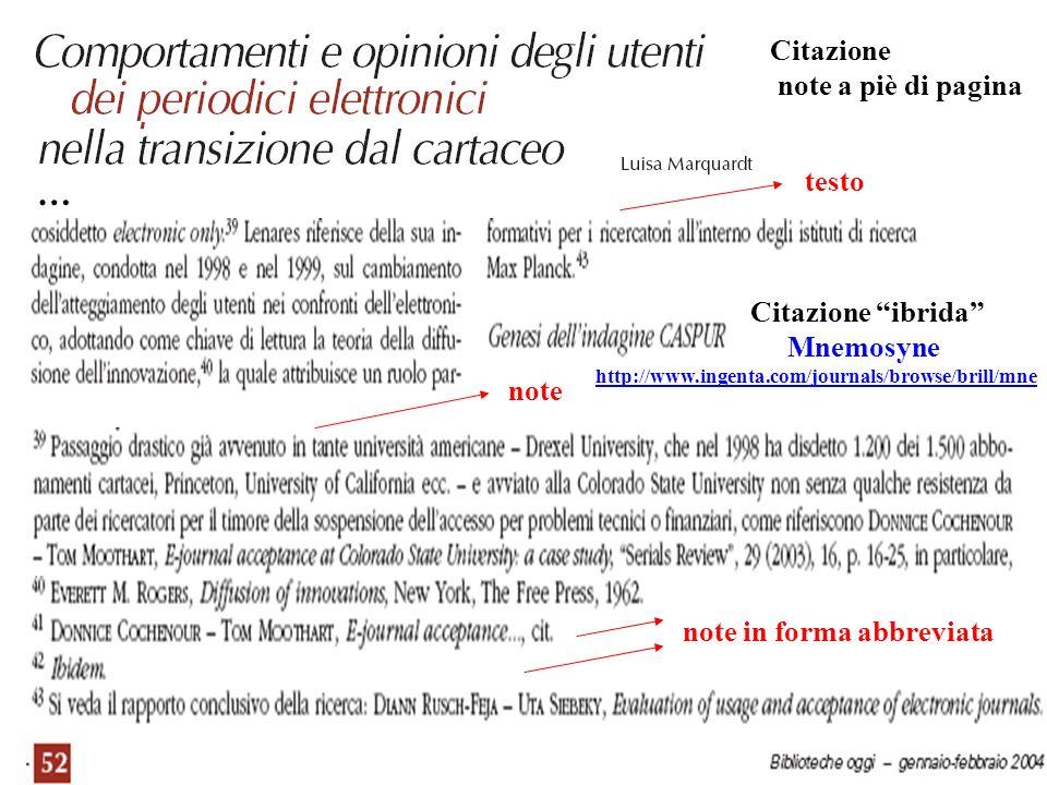 … Citazione note a piè di pagina testo Citazione ibrida Mnemosyne