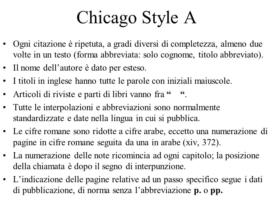 Chicago Style A