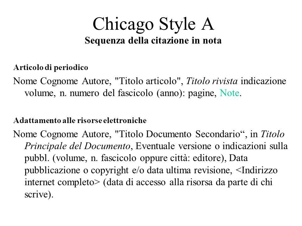 Chicago Style A Sequenza della citazione in nota