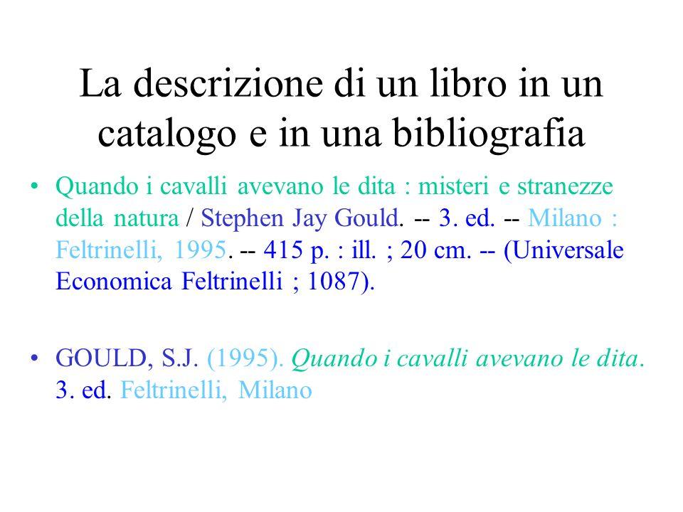 La descrizione di un libro in un catalogo e in una bibliografia
