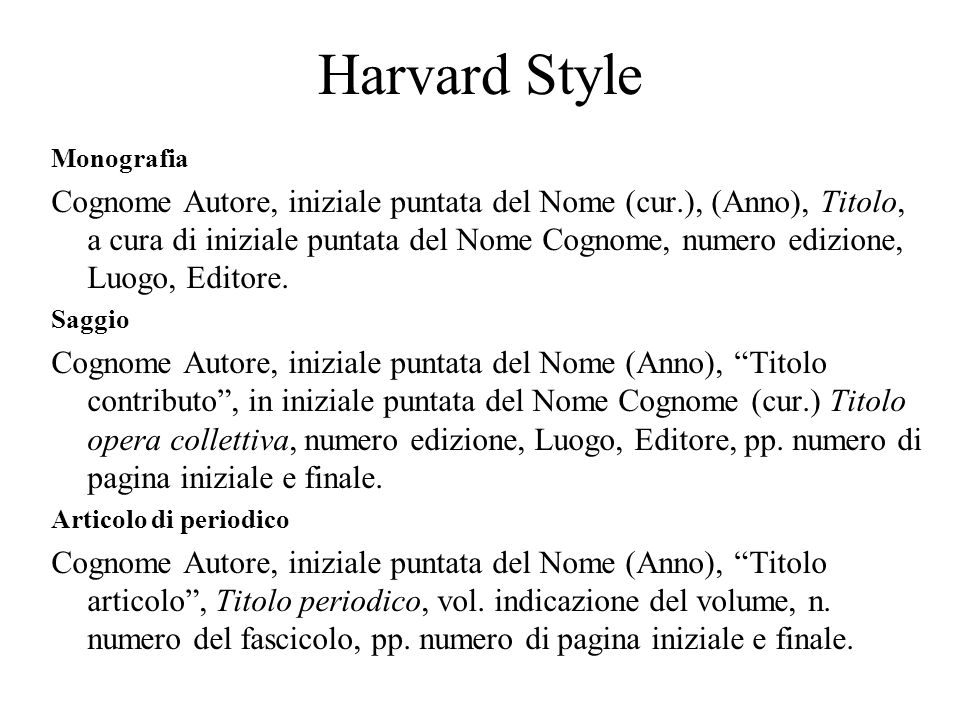 Harvard Style Monografia.