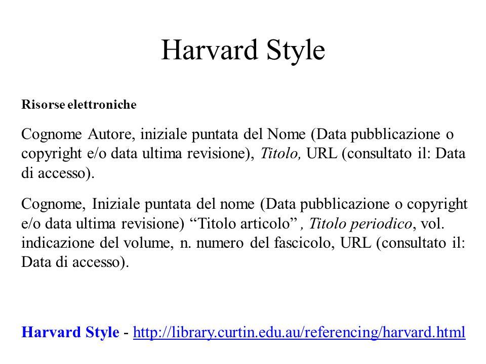 Harvard Style Risorse elettroniche.