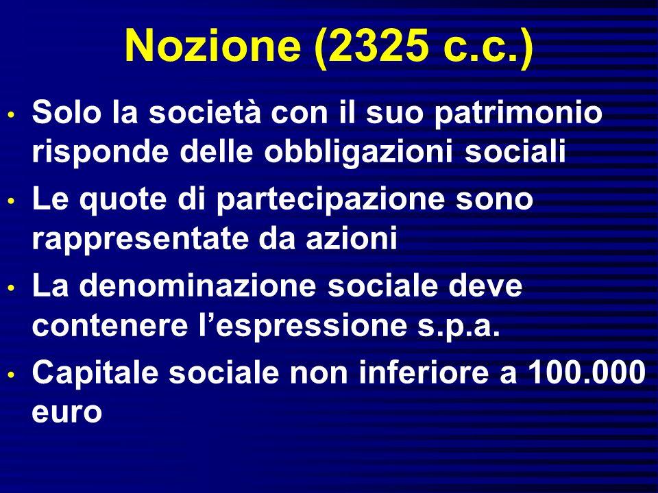 Nozione (2325 c.c.) Solo la società con il suo patrimonio risponde delle obbligazioni sociali.