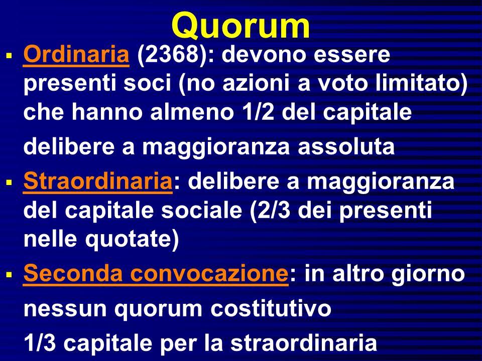 Quorum Ordinaria (2368): devono essere presenti soci (no azioni a voto limitato) che hanno almeno 1/2 del capitale.