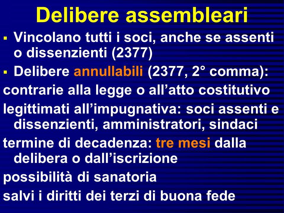 Delibere assembleari Vincolano tutti i soci, anche se assenti o dissenzienti (2377) Delibere annullabili (2377, 2° comma):