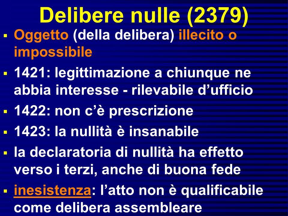 Delibere nulle (2379) Oggetto (della delibera) illecito o impossibile