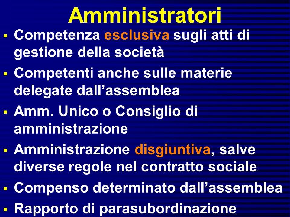 Amministratori Competenza esclusiva sugli atti di gestione della società. Competenti anche sulle materie delegate dall'assemblea.