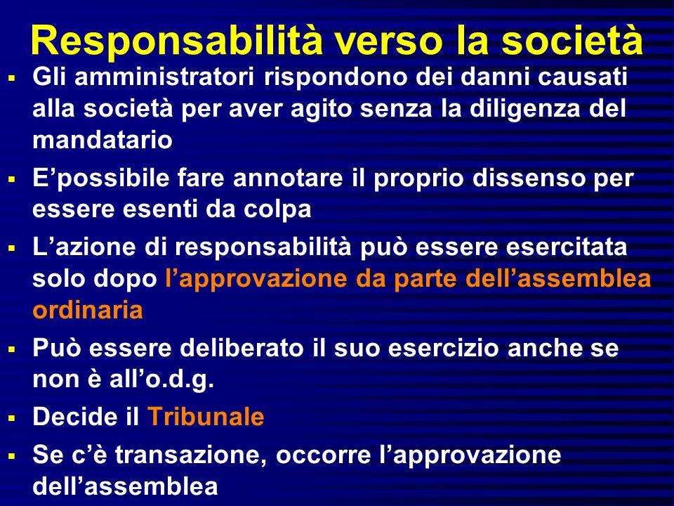 Responsabilità verso la società